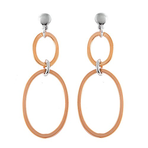 Exquisite Sterling Silver Rose Gold Plated Double Oval Earring - Sterling Silver Double Oval Earrings