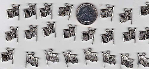 LOT of 24 Metal Silver Tone U.S. Flag Charms Vintage Crafting Pendant Jewelry Making Supplies - DIY for Necklace Bracelet Accessories by CharmingSS from CharmingStuffS