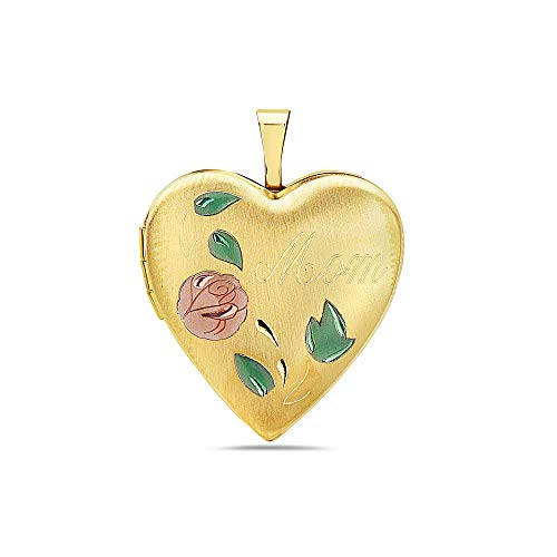 - Pori Jewelers 14K Solid Yellow Gold Heart Locket Pendants- Perfect for Holding Photos, Messages, sentimental's-Multiple Styles Available (Mom with Roses Enamel (25MM))