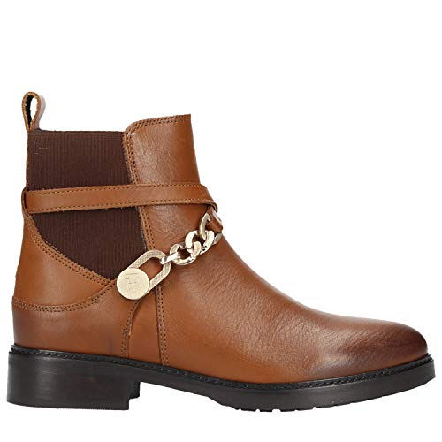 Donna Marrone Leat Chain Tommy Bootie per Hilfiger BOTIN 0YxqP64