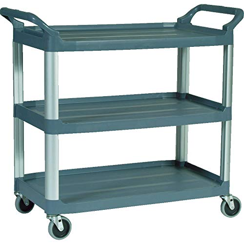 Rubbermaid Commercial Products Heavy Duty 3-Shelf Rolling Service/Utility/Push Cart, 300 lbs. Capacity, Gray, for Foodservice/Restaurant/Cleaning ()