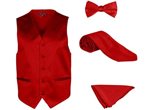 Alberto Cardinali Men's Dress Vest Solid Color 4 Piece Set Vest Neck Tie Hanky Bow Tie Matching For Suit or Tuxedo V202 (Large, Red)