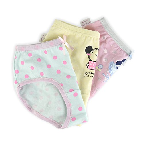slaixiu Cotton Girls Underwear Briefs Cute Polkadot Cartoon Kids Panties 6-Pack(UW234-150) by slaixiu (Image #3)