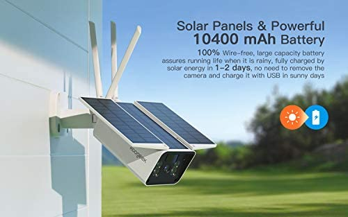 【2020 Upgrated】 Wireless Outdoor Security Camera, WiFi 1080P Solar Security Camera 10400mAh Rechargeable Battery, PIR Motion Detection, Night Vision, 2-Way Audio, 3 Antenna, IP67 Waterproof, Cloud SD 416nBPxLgCL