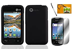 LF 4 in 1 Bundle - Hard Case Cover, Lf Stylus Pen, Screen Protector & Droid Wiper Accessory For (Verizon) LG Optimus Zone 2 VS415PP, L34C Fuel (Hard Black)
