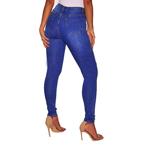 Stretch Distressed Et Sentaoa Pantalons Femmes en Bleu Trou Jeans Haute Jeggings Pantalon Denim Taille Washed Skinny HvHwgq