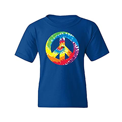 Colored Tie Dye Vintage Peace Sign Youth T-shirt Fashion Quality Tee Royal Blue YOUTH Medium - Boys Blue Tie Dye
