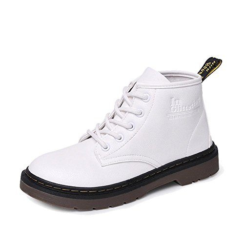 Retro Women Martin Short Boots Leather Flat Heel Winter Warm Casual Shoelace Ankle Shoes WHITE-36 dAPst