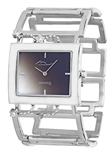 Moog Paris - Aérienne - Women's Watch with black and white dial, silver strap in Stainless steel, made in France - M46014-101