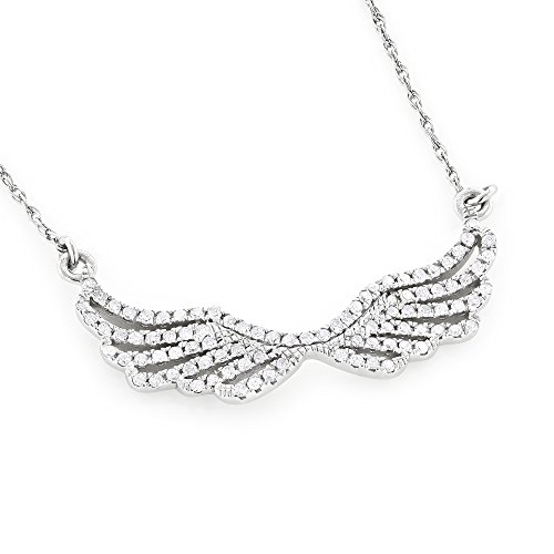 18k White Gold Pave Diamond Pendant (Luxurman 14K Ladies Natural 0.2 Ctw Pave Set Diamonds Wings Necklace Pendant (White Gold))