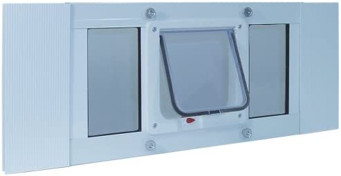 Adjustable to Fit Window Widths from 27 to 32 Ideal Pet Products Aluminum Sash Window Pet Door