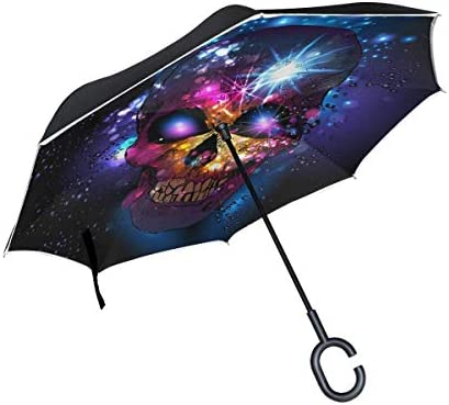 rodde mit C-förmigen Griffhüten Winddichte Regenschirme Reverse Double Layer Inverted für Rain Outdoor Skull