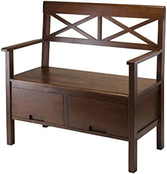 Winsomewood Madelyn High Back Bench with 2 Drawers
