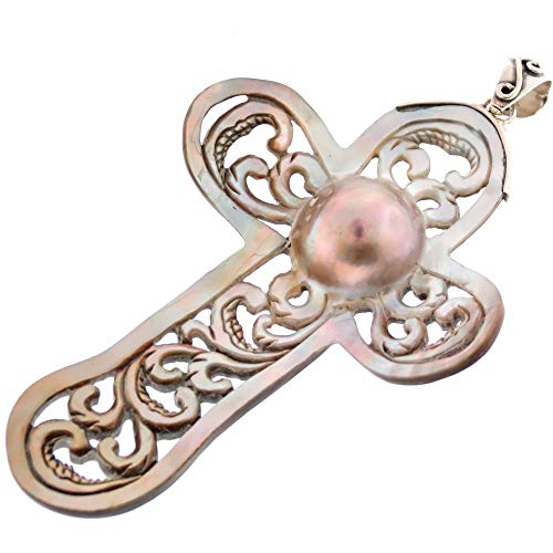 Cross Blister Mabe Cultured Pearl Hand Carving Shell 925 Sterling Silver Pendant, 3 5/8