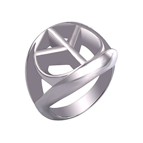 (U7 Stainless Steel Peace Sign Ring (Size 10))