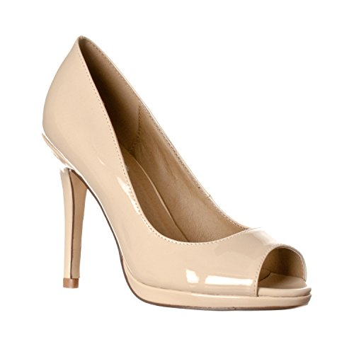 Riverberry Women's Julia Slight Platform Open Toe High Heel Pumps, Nude Patent, 9