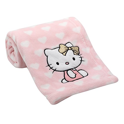 - Lambs & Ivy Hello Kitty Hearts Blanket, Pink/White