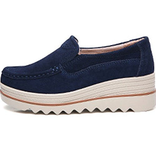 Women's Lace Suede Blue Up Walking Loafers Leather Lightweight Platform Dark Casual Orlancy pwXZqp