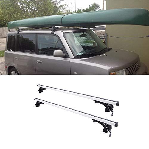 (VIOJI 2pcs 48in. Adjustable Silver+Black Aluminum Window-Frame-Mount Style Roof Rack Cross Bars + 3 Kinds of Brackets for Multiple Vehicles Without Existing Side Rails)