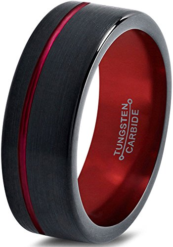 Tungsten Wedding Band Ring 8mm for Men Women Red Black Pipe Cut Brushed Polished Offset Line Size 8.5 by Chroma Color Collection