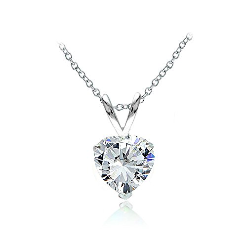 Sterling Silver Cubic Zirconia 7mm Heart Solitaire Necklace