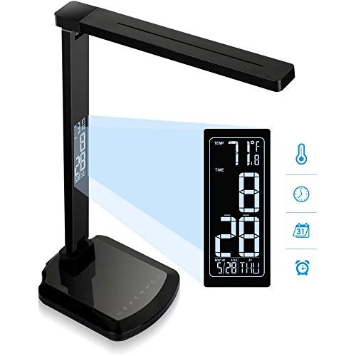 Lorell 99768 LCD Clock Display LED Desk Lamp, Black