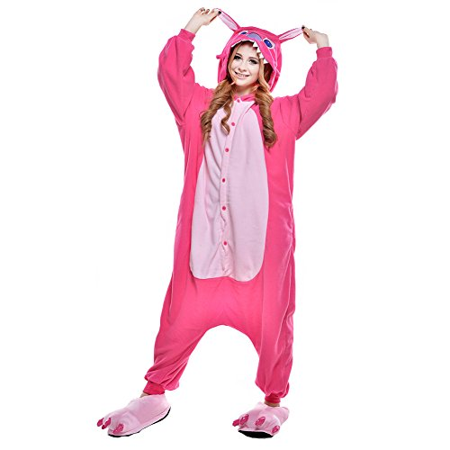 Newcosplay Adult Anime Unisex Pyjamas Halloween Onesie Costume (L, Red Stitch)