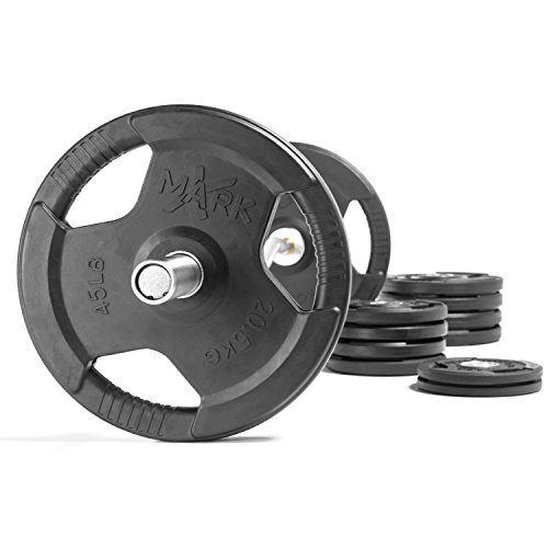 HUGE Savings With The XMark 28mm Grip Commercial Hard Chrome Olympic EZ Curl Bar AND XMark Premium Rubber Coated Olympic Plate Weights