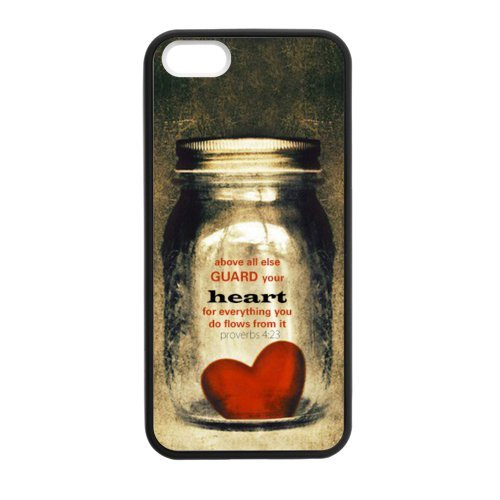 Bible Verse - Proverbs 4:23 Above Else, Guard Your Heart - Vintage Heart Bottle Pattern iPhone 5 5S Case Covers Anti-Scratch Extreme Protection Compatible with iPhone 5 5S TPU(Laser Technology), For E