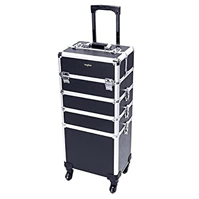 Mefeir 4-in-1 Rolling Train Case Lift Handle,4 Removable Wheels+8 Keys,Aluminum Makeup Cosmetic Trolley Beauty Artist Organizer Box