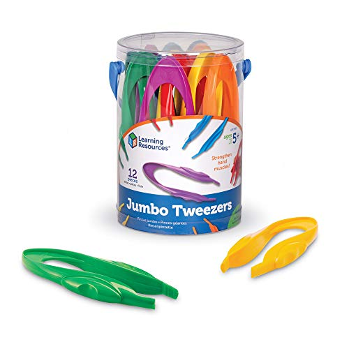 Wide Teachers Learning Center - Learning Resources Jumbo Tweezers, Sorting & Counting, Toddler Fine Motor Skill Development,  Set Of 12
