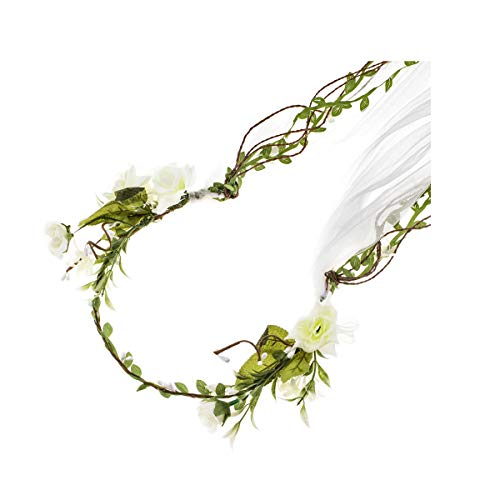 Veils And Headpieces - Floral Fall Adjustable Bridal Flower Garland Headband Flower Crown Hair Wreath Halo F-83 (D-Ivory Small Flower Veil)