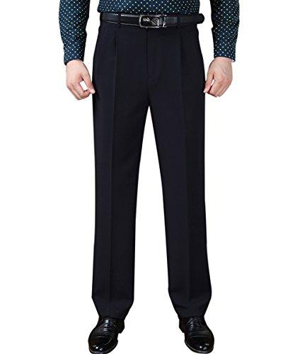 367 Pantaloni Piega Anteriori Pant Marina Colore Di Degli Solido Diritto Piani Misura Fronte Yffushi Di Uomini Al F5HZqzx