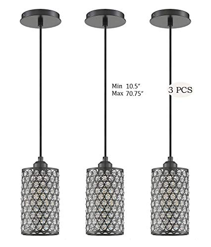 Seenming Lighting 1 Light Crystal Pendant Lighting with Plating Black(Set of 3), Modern Style Ceiling Light Fixture with…