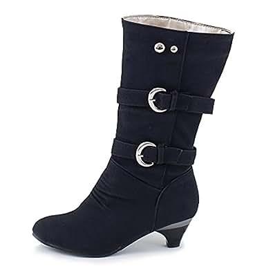 Amazon.com | Blivener Women's Mid Calf Boots Buckle Strap