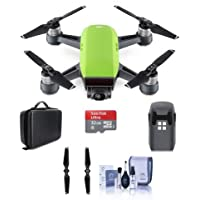 DJI Spark Mini Drone Meadow Green - Bundle With Quick-Release Folding Propellers, 32GB MIcro SDHC Card, Quick-Release Folding Propellers, Hard Case for Spark Mini Drone