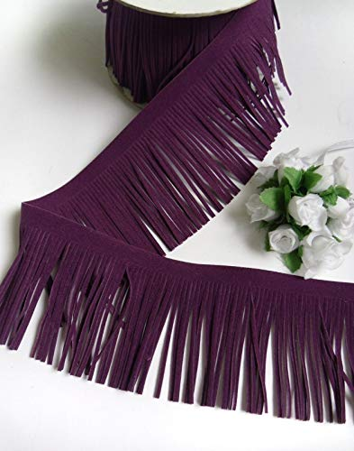 "FidgetFidget Trim 2-3/4"" Faux Suede Plum Dark Purple Fringe DIY Craft-Per Yard -T1033"