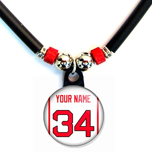 Boston Personalized Baseball Jersey Necklace with Your Name