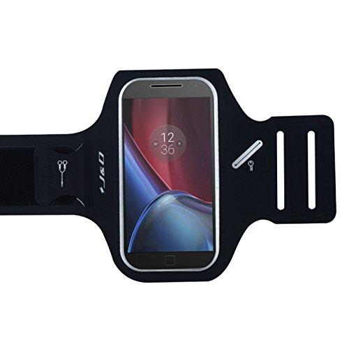 J&D Armband Compatible for Moto G4 / Moto G4 Plus Ultra Slim Armband, [Super-Comfort] [Lightweight] Sports Armband with Key Holder Slot, Perfect Earphone Connection for Motorola Moto G4 Armband