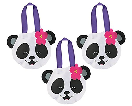 Panda Shape Tote Bags Nonwoven Polyester- 1 dz (Panda Themed Party)