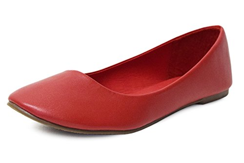 H2K Womens [Lightweight] Fashion Comfy Basic Round Toe Ballet Flats [Low Heels] Shoes Red Sabqd9bQ