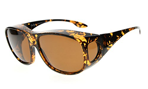 a0e35c0327 Eyekepper Retro Style Large Lenses Polarized Fitover Sunglasses for  Prescription Glasses (Amber Tortoise Brown