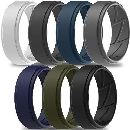 ThunderFit Silicone Wedding Ring for Men (Light Grey, Dark Grey, Navy Blue, Grey, Olive Green, Dark Blue, Black, 12.5-13 (22.2mm))