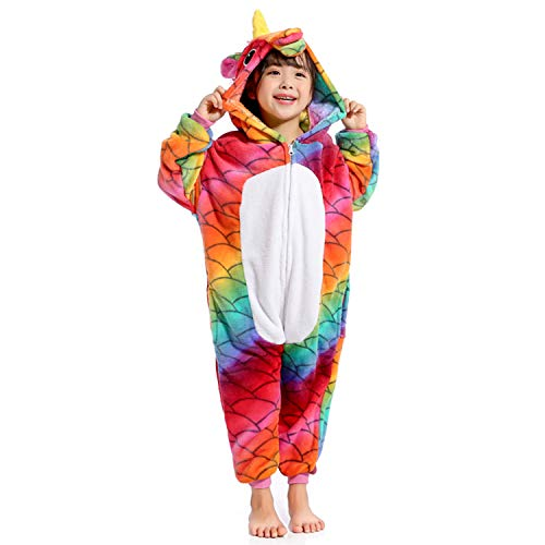 Mermaid Unicorn Zipper Onesie,Kids Flannel Pajamas Animal Cosplay Costumes for Halloween(White 10-12 Years Old) -