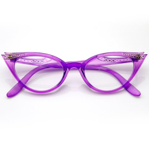 Vintage Cateyes 80s Inspired Fashion Clear Lens Cat Eye Glasses with Rhinestones (Purple)