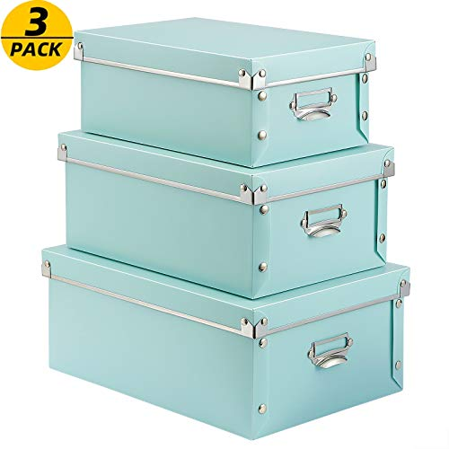 SEEKIND Foldable Storage Box with Lids and Handles Decorative, 3 in 1 Set, Multiple Size Plastic Box for Clothes, Toys, Cosmetic, Books