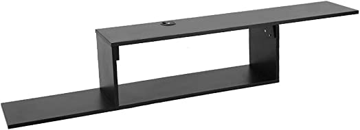 uublik 2 Tier Modern Mounted TV Console,Asymmetrical Floating Wall Mounted TV Console 60 Inches MDF with Living Room Storage for Cable Boxes Routers Remotes DVD Players Game Consoles Black