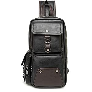 Lcxliga Men Chest Bag,Leather Sling Shoulder Backpack,Anti Theft Water Resistant Crossbody Bag