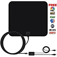 HDTV Antenna 50 Miles Indoor - Coolmade 2017 Amplified TV Antenna with Detachable Signals Booster VHF UHF Reception for 1080P High Gain Free TV Channels with 9.8Ft Coax Cable