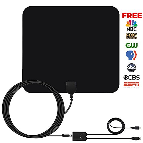 50+Miles Amplified HDTV Antenna Indoor - 2018 Amplifier TV Antenna Digital TV Signals with Detachable Channels Booster Easy Installation Antenna for 1080P 4K High Reception Free Gain 9.8Ft Coax Cable Free Antenna Booster